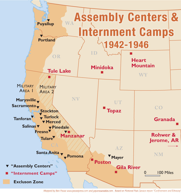 Many Japnese Americans Were Moved To Internment Camps Th - Map of italian internment camps in us