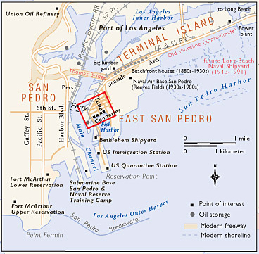 Terminal Island text w/ small map on small gis, small calculator, small compass, small manuscript, small documents, small on foot, small subdivision, small camera, small car, small phone, small company profile, small peach, small house virtual tour, small ebook, small diagram, small handbook, small globe, small spreadsheet,